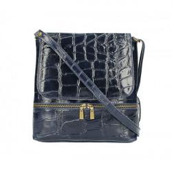 Kožená kabelka na rameno 573 tmavomodrá Made in Italy Modrá