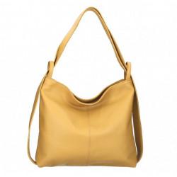 Kožená kabelka na rameno 579 okrová Made in Italy Okrová
