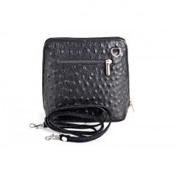 Kožená kabelka na rameno 603 čierna, Čierna