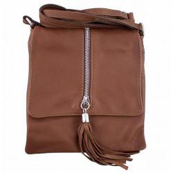 Kožená kabelka na rameno 603A hnedá, Hnedá