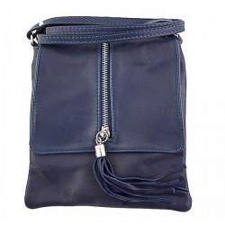 Kožená kabelka na rameno 603A modrá, Modrá