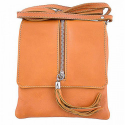 Kožená kabelka na rameno 603A okrová, Okrová