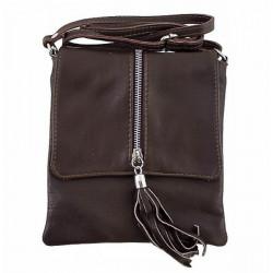 Kožená kabelka na rameno 603A tmavohnedá, Hnedá