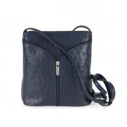 Kožená kabelka na rameno 603B modrá, Modrá