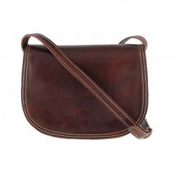 Kožená kabelka na rameno 675 hnedá, Hnedá