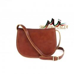 Kožená kabelka na rameno 675 koňak MADE IN ITALY