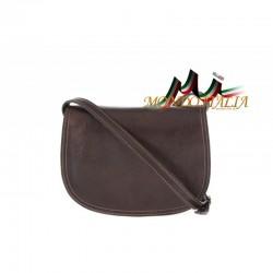 Kožená kabelka na rameno 675 tmavohnedá MADE IN ITALY