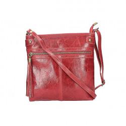 Kožená kabelka na rameno 727 červená, Červená