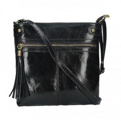 Kožená kabelka na rameno 727 čierna, Čierna