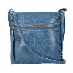 Kožená kabelka na rameno 727 jeans, Modrá