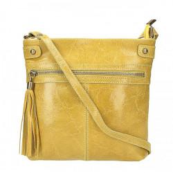 Kožená kabelka na rameno 727 žltá, Žltá