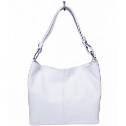Kožená kabelka na rameno 729 biela, Biela