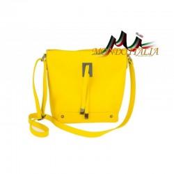 KOŽENÁ KABELKA NA RAMENO 825 žltá MADE IN ITALY