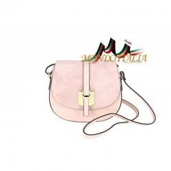 Kožená kabelka na rameno 942 ružová MADE IN ITALY