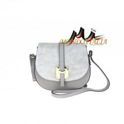 Kožená kabelka na rameno 942 šedá MADE IN ITALY