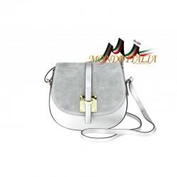 Kožená kabelka na rameno 942 strieborná MADE IN ITALY