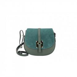 Kožená kabelka na rameno 942 tmavozelená MADE IN ITALY,