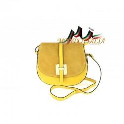 Kožená kabelka na rameno 942 žltá MADE IN ITALY