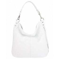 Kožená kabelka na rameno 981 Made in Italy biela, Biela