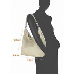 Kožená kabelka na rameno 981 Made in Italy biela, Biela #4