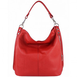 Kožená kabelka na rameno 981 Made in Italy červená, Červená
