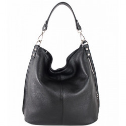 Kožená kabelka na rameno 981 Made in Italy čierna, Čierna
