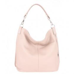 Kožená kabelka na rameno 981 Made in Italy ružová Ružová