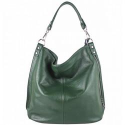 Kožená kabelka na rameno 981 Made in Italy zelená, Zelená