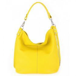 Kožená kabelka na rameno 981 Made in Italy žltá, Žltá