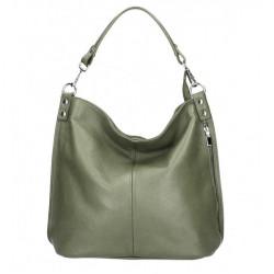 Kožená kabelka na rameno 981 vojenská zelená Made in Italy, Zelená