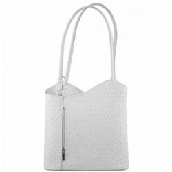 Kožená kabelka na rameno/batoh 1260 biela Made in Italy Biela