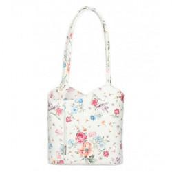 Kožená kabelka na rameno/batoh 1260 biela s kvetmi Made in Italy Biela