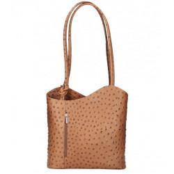 Kožená kabelka na rameno/batoh 1260 koňak Made in Italy Koňak