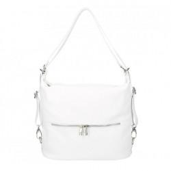 Kožená kabelka na rameno/batoh 328 biela, Biela