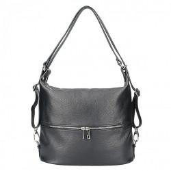 Kožená kabelka na rameno/batoh 328 čierna, Čierna