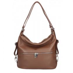 Kožená kabelka na rameno/batoh 328 hnedá, Hnedá