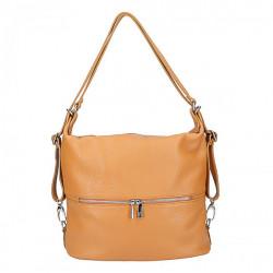Kožená kabelka na rameno/batoh 328 koňak, Koňak