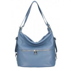 Kožená kabelka na rameno/batoh 328 nebesky modrá, Nebesky modrá