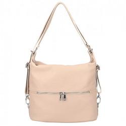 Kožená kabelka na rameno/batoh 328 ružová, Ružová