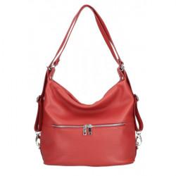 Kožená kabelka na rameno/batoh 328 tmavočervená, Červená