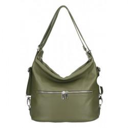 Kožená kabelka na rameno/batoh 328 vojenska zelená, Zelená