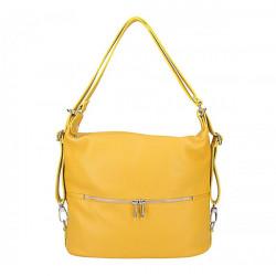Kožená kabelka na rameno/batoh 328 žltá, Žltá