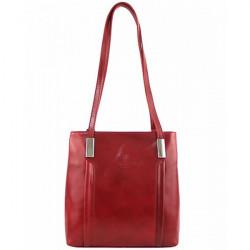 Kožená kabelka na rameno/batoh 432 červená Made in Italy Červená