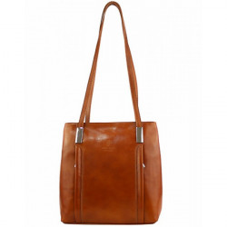 Kožená kabelka na rameno/batoh 432 koňak Made in Italy Koňak