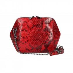 Kožená kabelka na rameno červená, červená