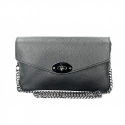 Kožená kabelka na rameno čierna MADE IN ITALY, čierna