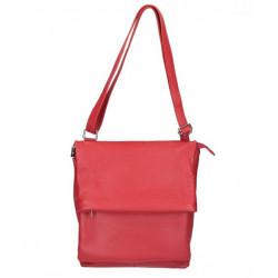 Kožená kabelka na rameno MI104 červená Červená