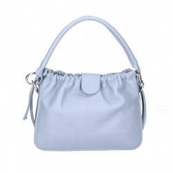 Kožená kabelka na rameno MI132 nebesky modrá Made in Italy Nebesky modrá