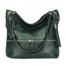 Kožená kabelka na rameno MI143 tmavozelená Made in Italy, Zelená