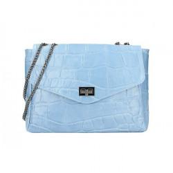 Kožená kabelka na rameno MI15 nebesky modrá Made in Italy Nebesky modrá